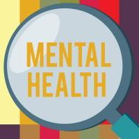 mental health text and magnifying glass